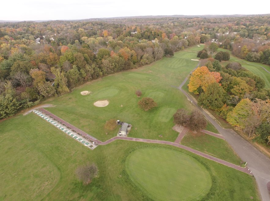 An aerial shot of the golf course at Casperkill Golf Club in Poughkeepsie
