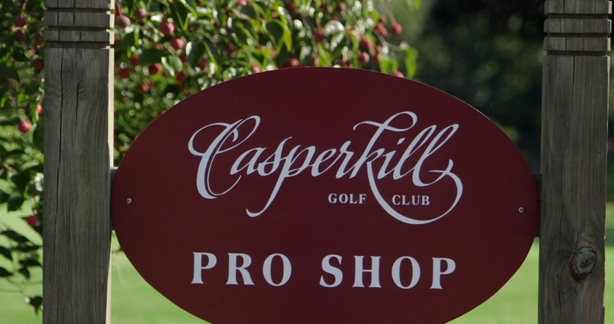 The pro shop sign for Casperkill Golf Club in Poughkeepsie